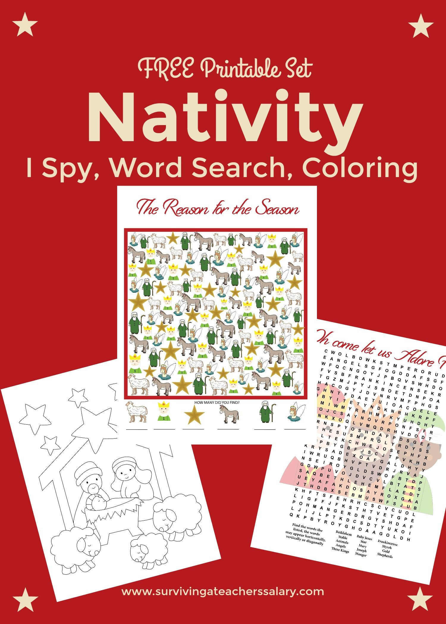 Free Nativity Printable Worksheets Coloring Pages Free