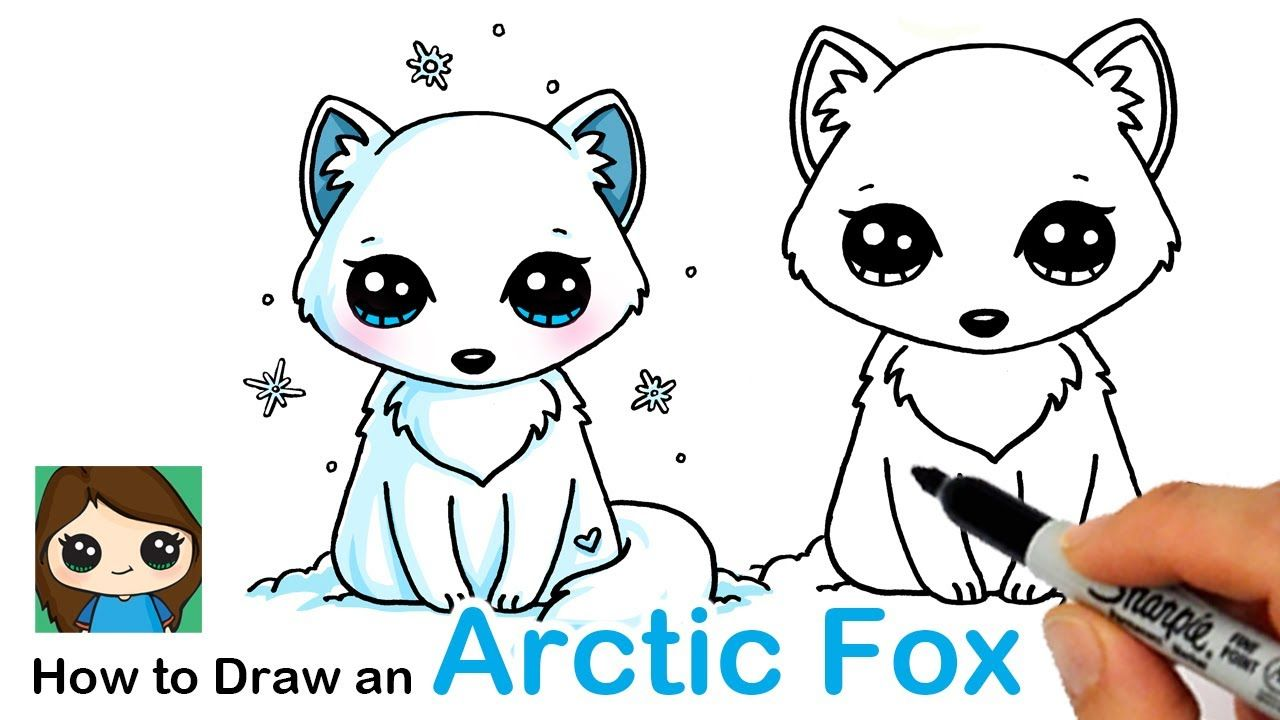How To Draw An Arctic Fox Easy Cute Kawaii Drawings Kawaii Drawings Cute Drawings