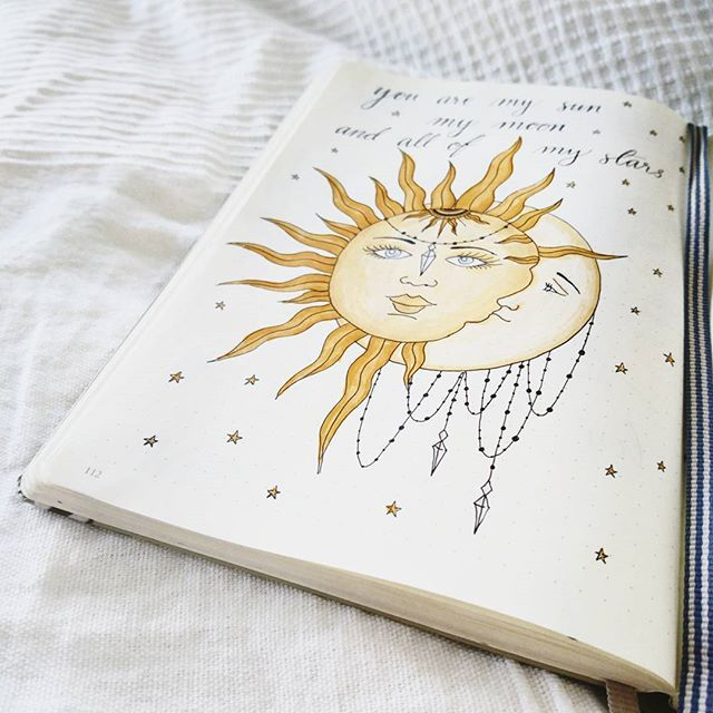 """""""You are my sun, my moon and all of my stars"""" ✨ Trying out different layouts and doodling/drawings r Bullet Journal Junkies, Bullet Journal Aesthetic, Bullet Journal Themes, Bullet Journal Spread, Bullet Journal Inspiration, Journal Ideas, Planner Doodles, My Themes, Doodle Drawings"""