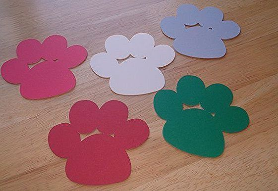 Gray Puppies Dog Paws Cardstock Red, Dark Red, Green, Cream and Gray Puppy Paw Print Dog/Pupp...  - Paw Patrol -