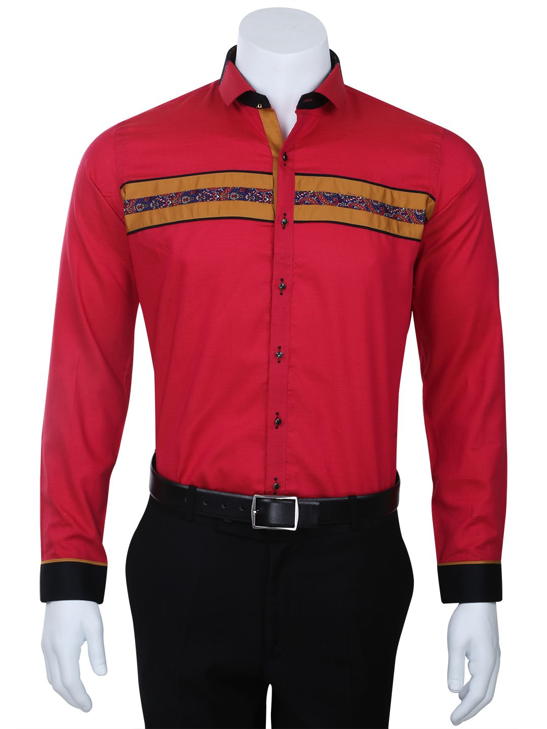caadd4a55 I Party Slim Fit Cotton Red Plain Men Party Wear Shirt