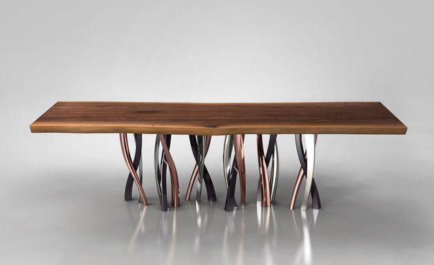 Live Edge Dining Table With Curvaceous Intertwined Brass Legs