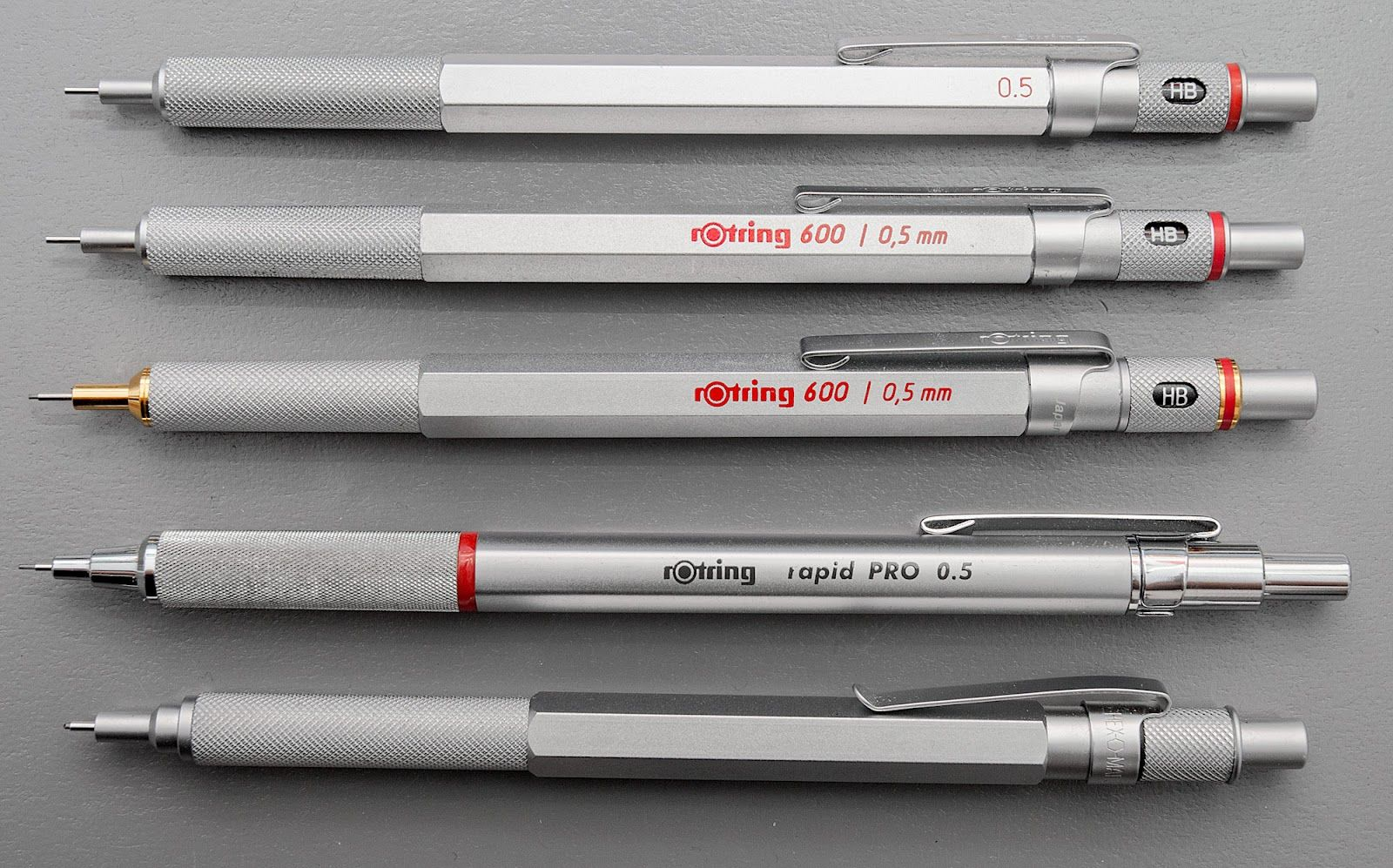 From top to bottom: Rotring 600 Japanese, 600 first series, 600G Japan, Rapid Pro and Retro51  Silver Hex-O-Matic Pencil