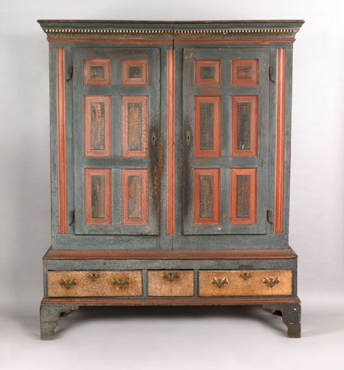 Lancaster Or Berks County Pennsylvania Painted Pine Schrank Ca 1770 The Stepped Cornice With Ivory De Antique Furniture Painting Wooden Furniture Furniture
