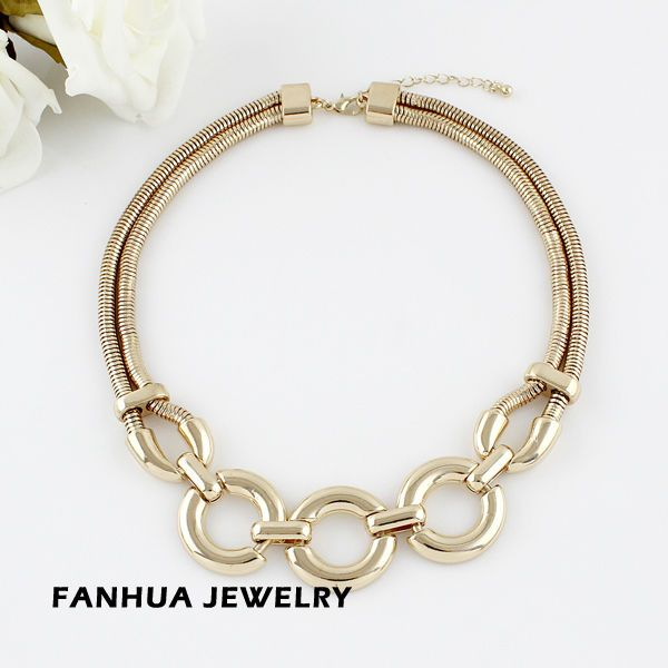 Designer Jewelry Bijoux Women Fashionable Graceful Concise Gold Color Alloy Circle Spring Choker Necklaces for Women $5.09