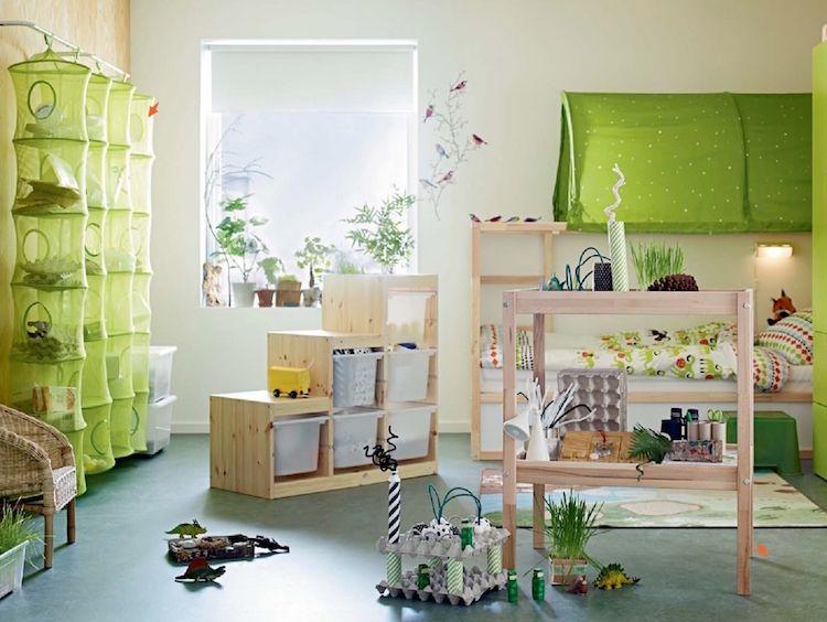 Idées chambre enfant IKEA- union de meubles pratiques et déco colorée