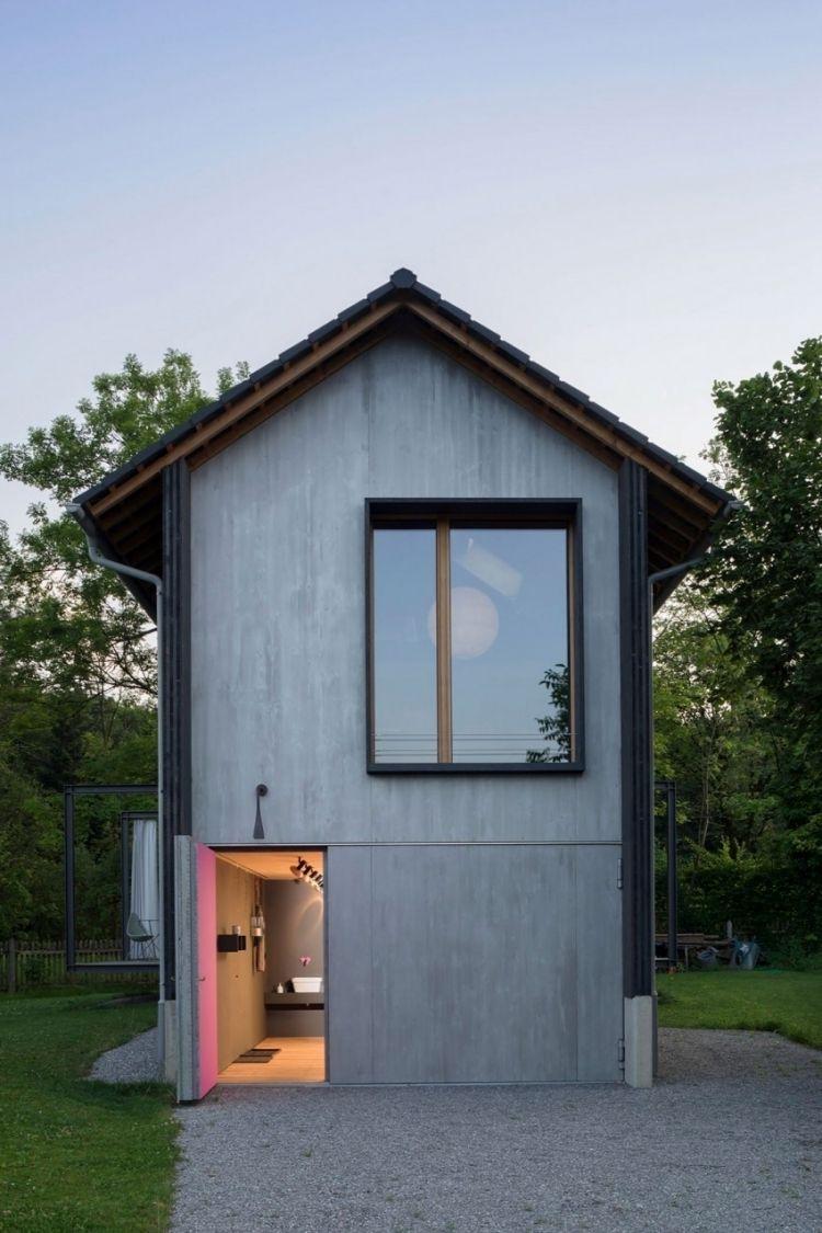 Modernes Wohnen  Klein Architektenhaus Minimalistisch Grau  Garten Hof Rasen Natur Einfamilienhaus