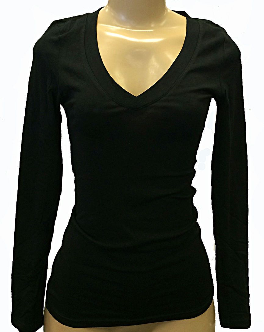 Womenus juniors vneck black ambiance apparel tshirt long sleeve