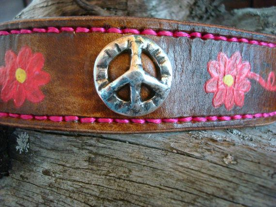 Handstitched leather cuff featuring handpainted by dirtynameranch, $28.00