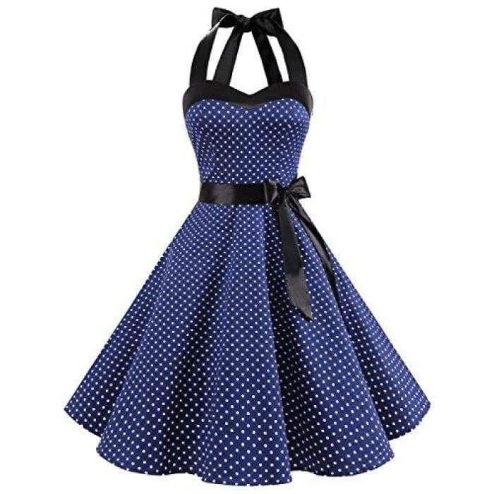 Photo of Vintage 1950s Rockabilly Polka Dots Audrey Dress Retro Cockt…