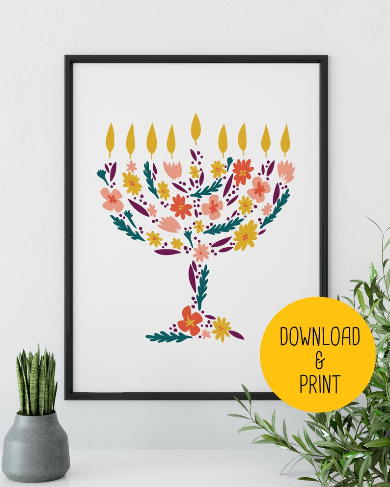Flower Menorah Hanukkah Printable Wall Art Instant Download Etsy In 2021 Hanukkah Art Wall Art Instant Download Hanukkah