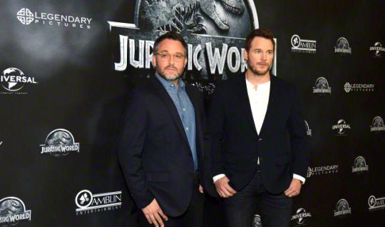 Chris Pratt and Colin Trevorrow  attend the 'Jurassic World' Photocall on June 01, 2015 in Berlin, Germany.