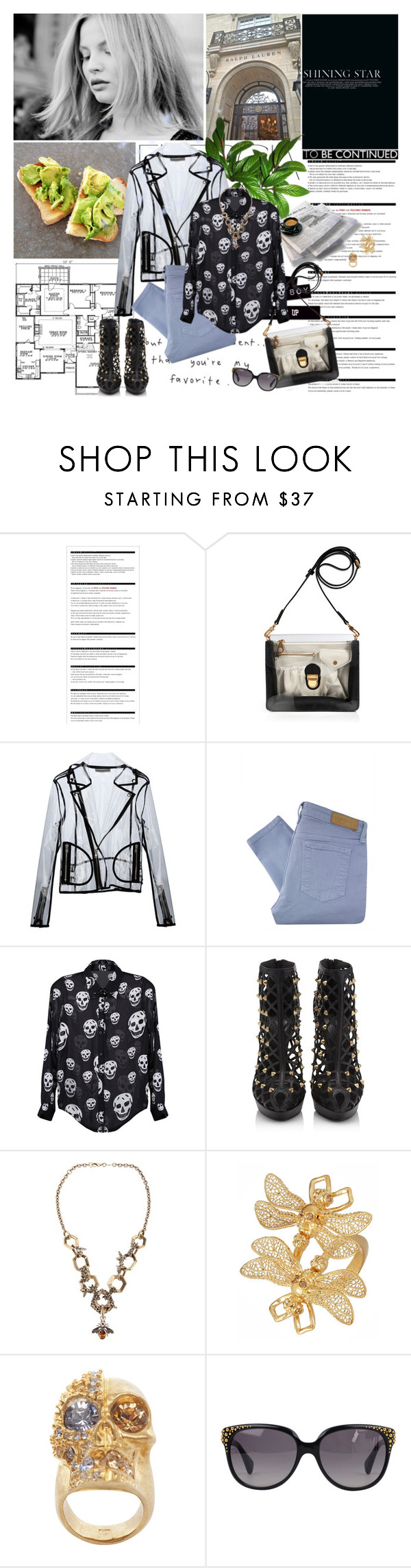 """""""Skulls Will ALWAYS Be the ALEXANDER MCQUEEN Thing"""" by gooree ❤ liked on Polyvore featuring Victoria's Secret, Arche, Magdalena, Marc by Marc Jacobs, Wanda Nylon, Victoria Beckham, Alexander McQueen, cutout booties, skull jewelry and skull shirts"""