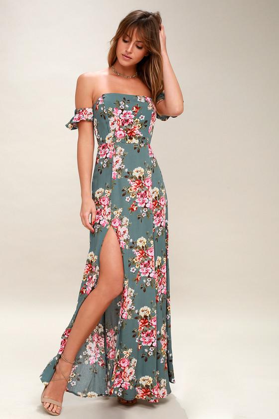 e14da778cea Lulus | Primrose Path Sage Green Floral Print Maxi Dress | Size ...