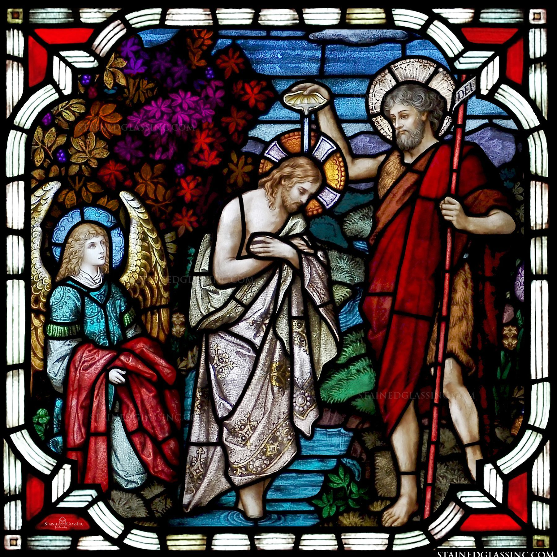 Image result for baptism of jesus stained glass