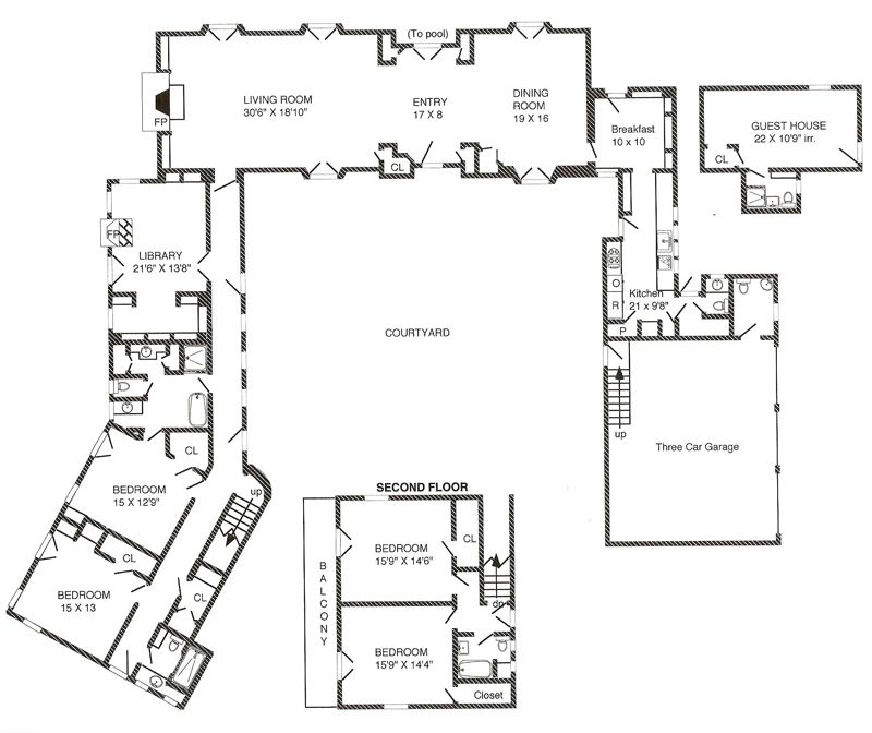 Spanish hacienda floor plans so replica houses house for Hacienda floor plans