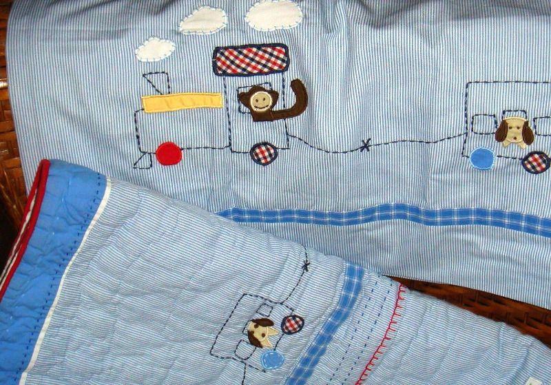 Pottery Barn Kids Ryder Train Boys Crib Quilt Skirt