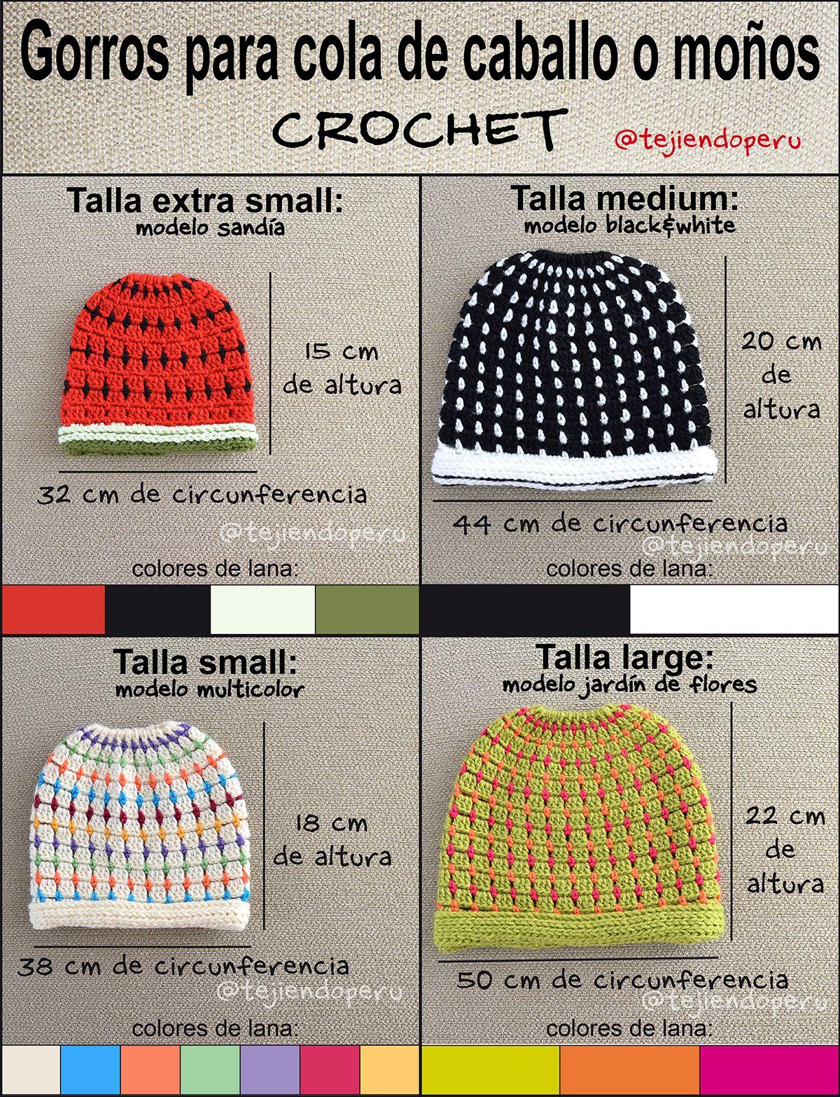Crochet: gorros para cola de caballo o moño tejidos a crochet paso a ...