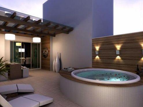 Jacuzzi Exterior Noche Ideas De Piscina Casas Diseño De
