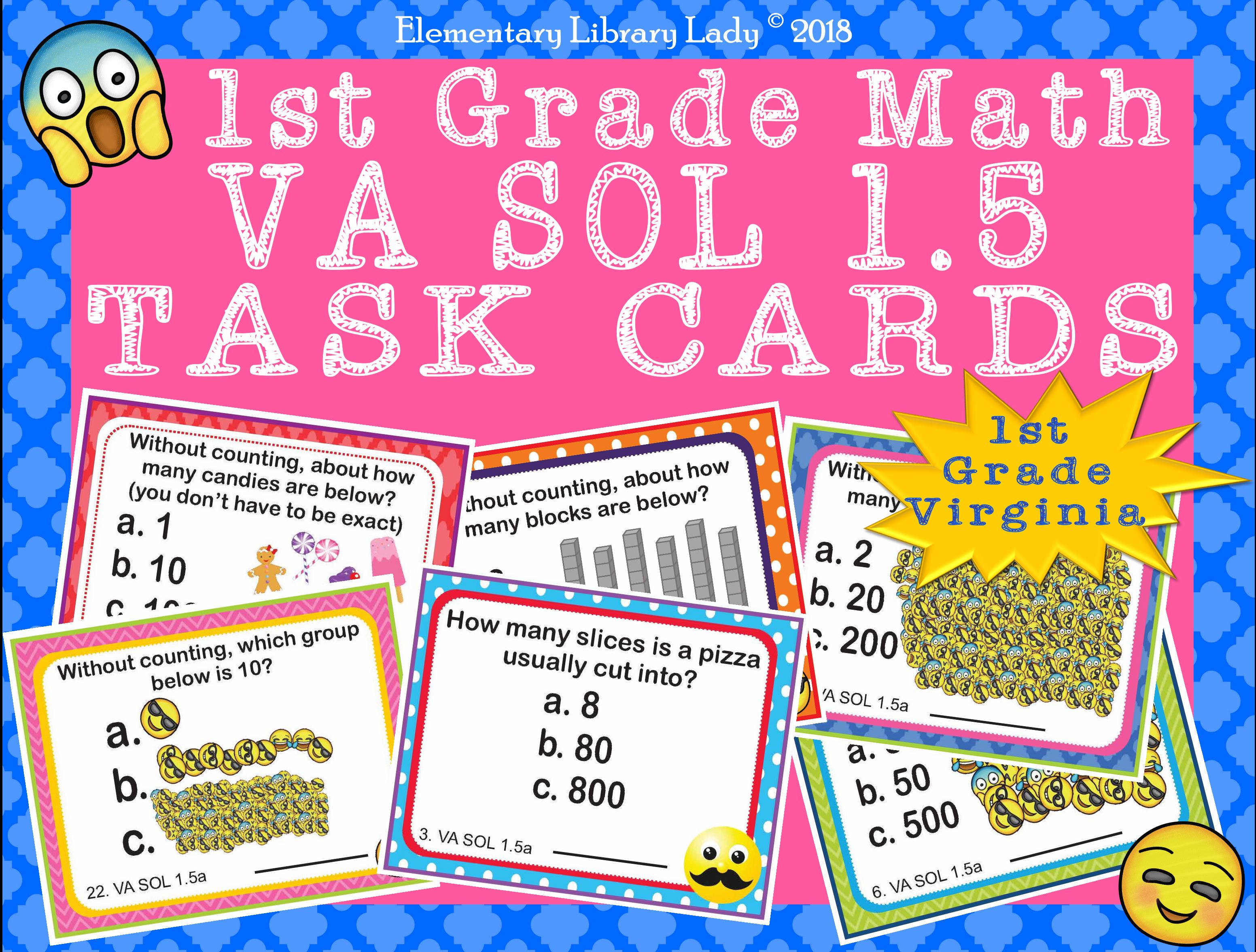 Virginia Sol Math 1st Grade Task Cards Magnitude Va Sol 1
