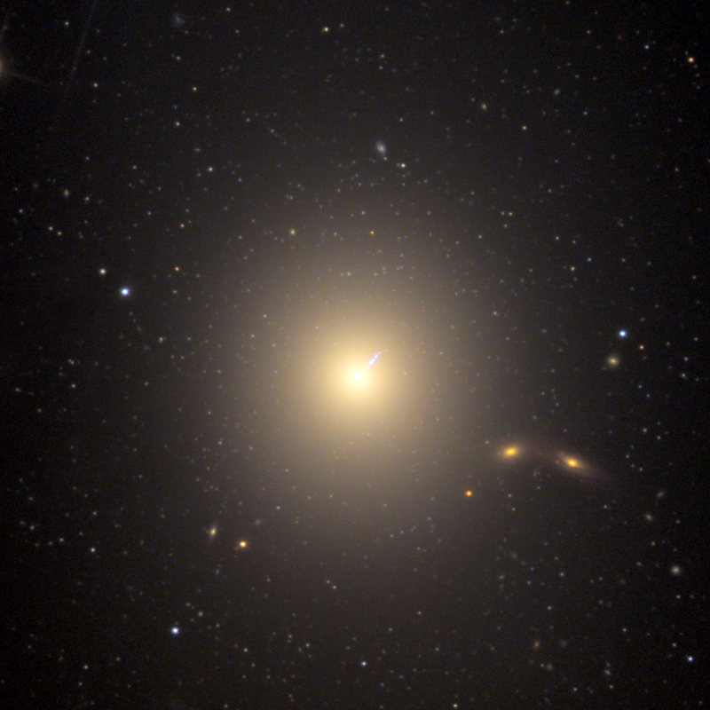 The massive galaxy M87 is the most spectacular example of an elliptical galaxy we can see from Earth. The most fascinating feature of this galaxy is its jet, which is visible in optical light as well as x-rays and radio emissions. - via apod.nasa.gov/apod/ap100520.html