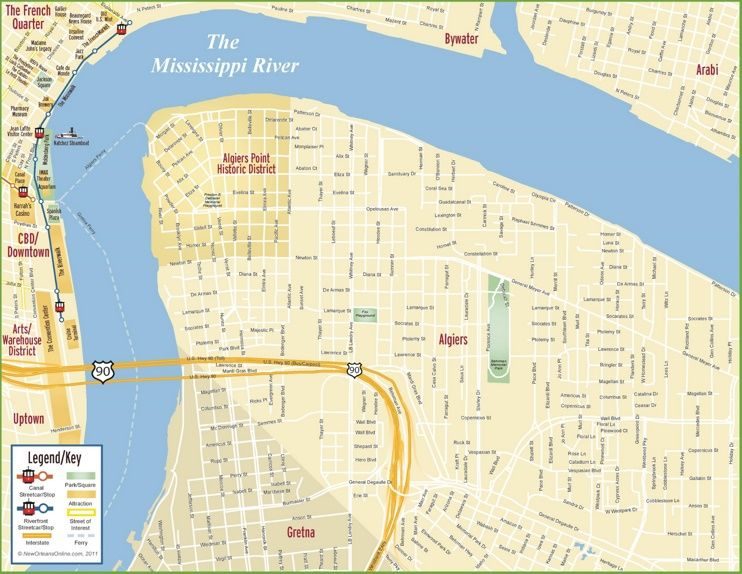 New Orleans Algiers Map Maps Pinterest Usa Cities And City - Map of usa with cities