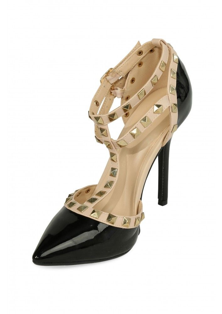 Cassandra Studded T-Strap Pumps in Black | Necessary Clothing