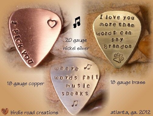 37965aed652 Personalized Guitar Pick/ Engraved Guitar Pick/ Hand Stamped Guitar Pick
