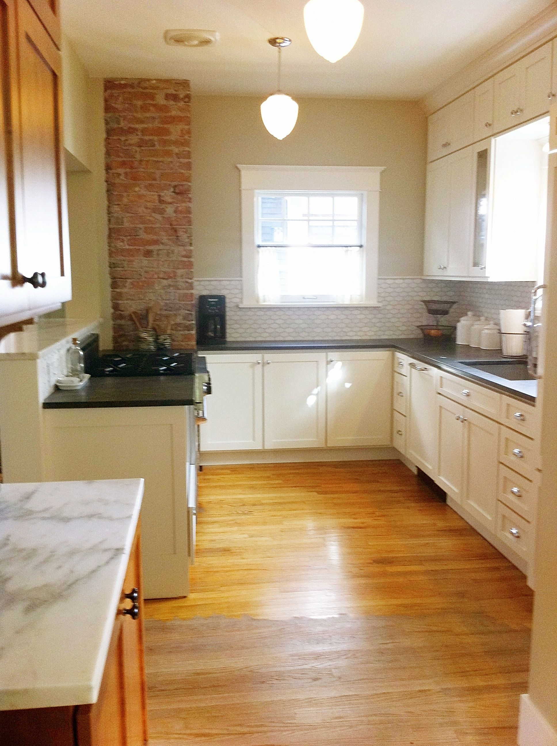 My Tiny Galley Kitchen Love The Brick And The Backsplash Tile