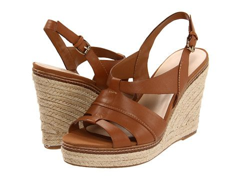 Anne Klein Tague Camel Leather Wedges