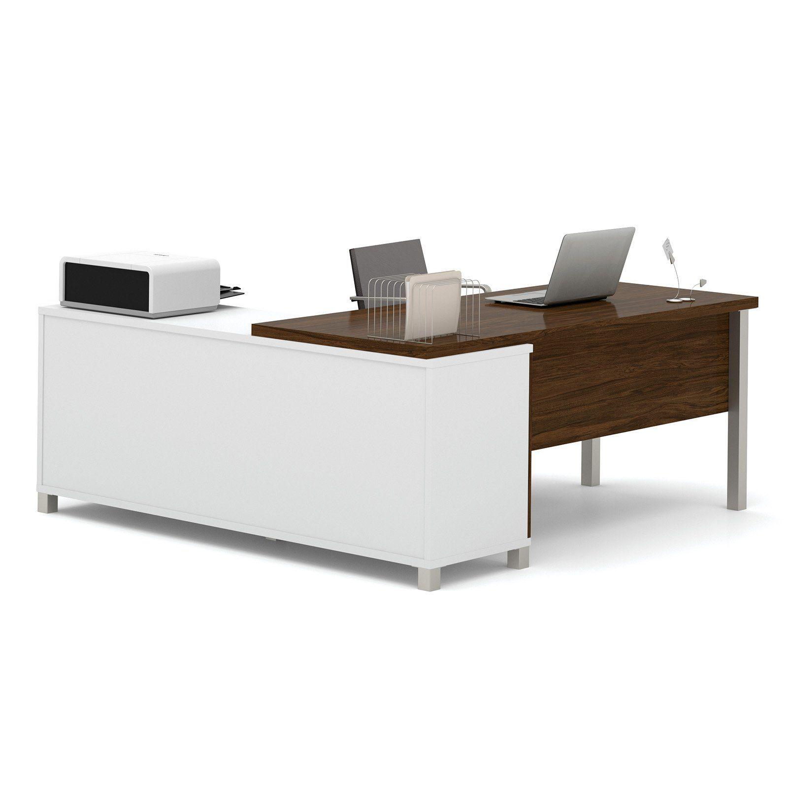Bestar prolinea lshaped desk with metal legs from hayneedle