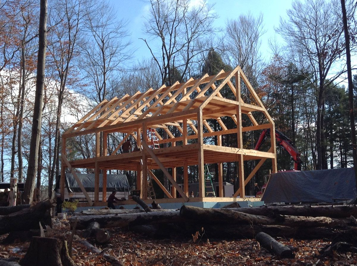24x40 casco bay barn house timber frame timber frames for Timber frame bungalow