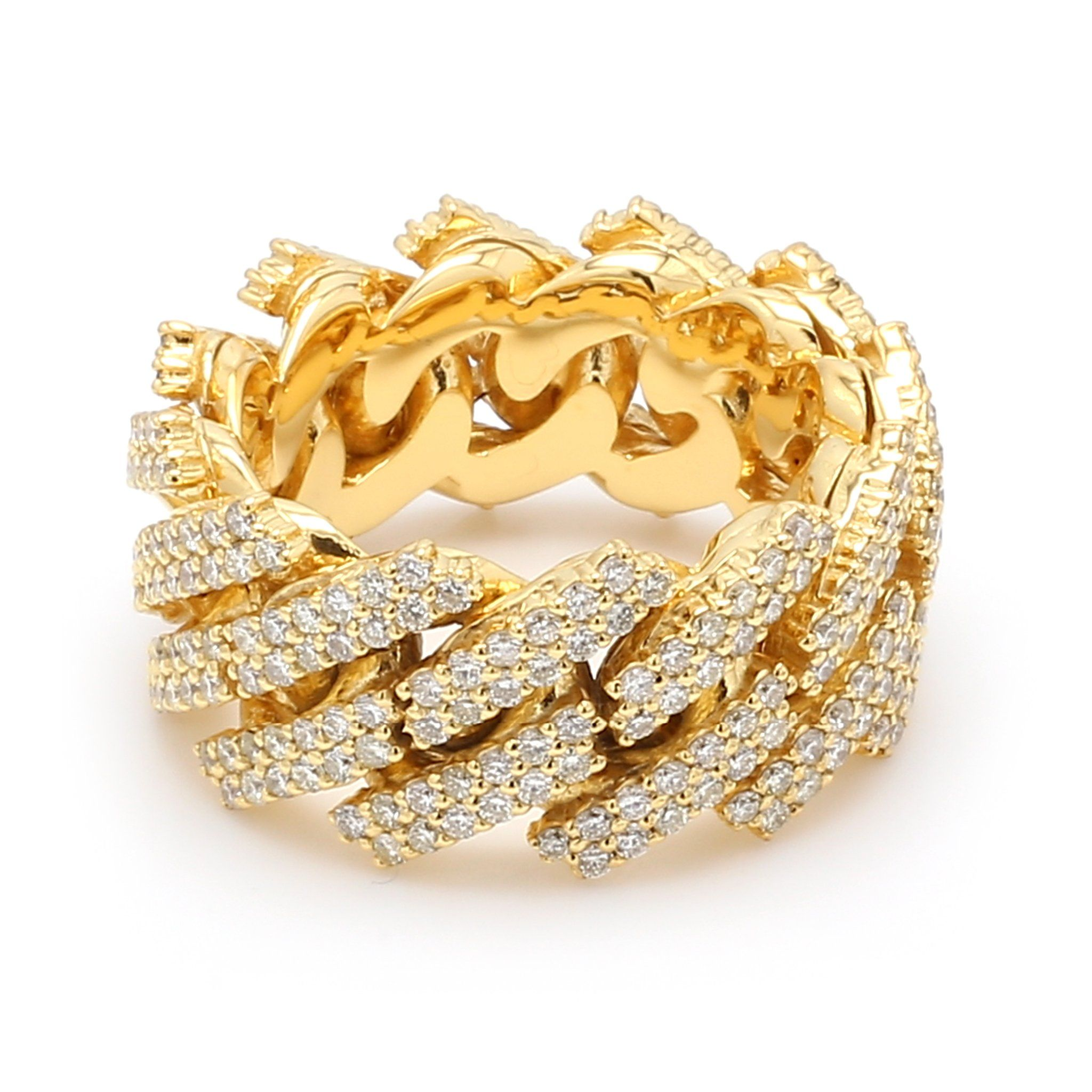 10k Solid Yellow Gold Diamond Cuban Link Ring In 2020 Linking Rings Colored Diamonds Gold Diamond