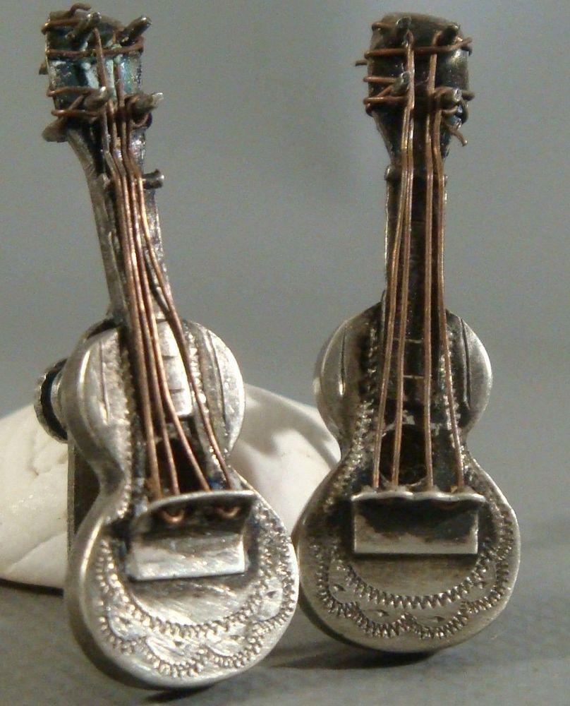 ultra rare vintage 1940 s 3 d sterling silver stamped ultra rare vintage 1940 s 3 d sterling silver stamped guitar earrings handmade
