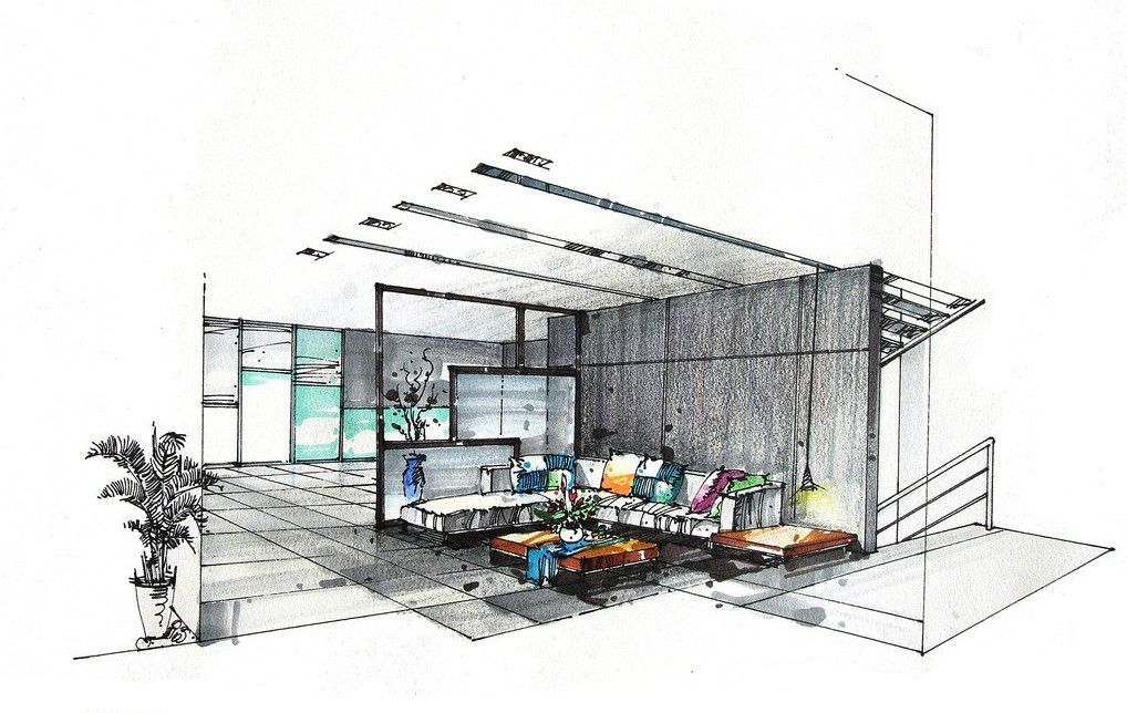Interior Design Sketches Living Room living-room-boilerplate-villa-hand-painted-interior-design-3d
