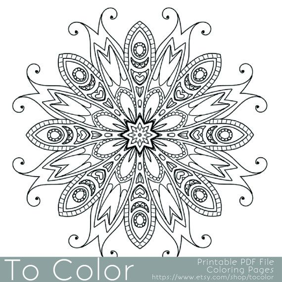 Detailed Printable Coloring Pages For Adults Gel Pens Mandala Pattern Pdf Jpg Instant Download Color Coloring Books Coloring Pages Mandala Coloring Books