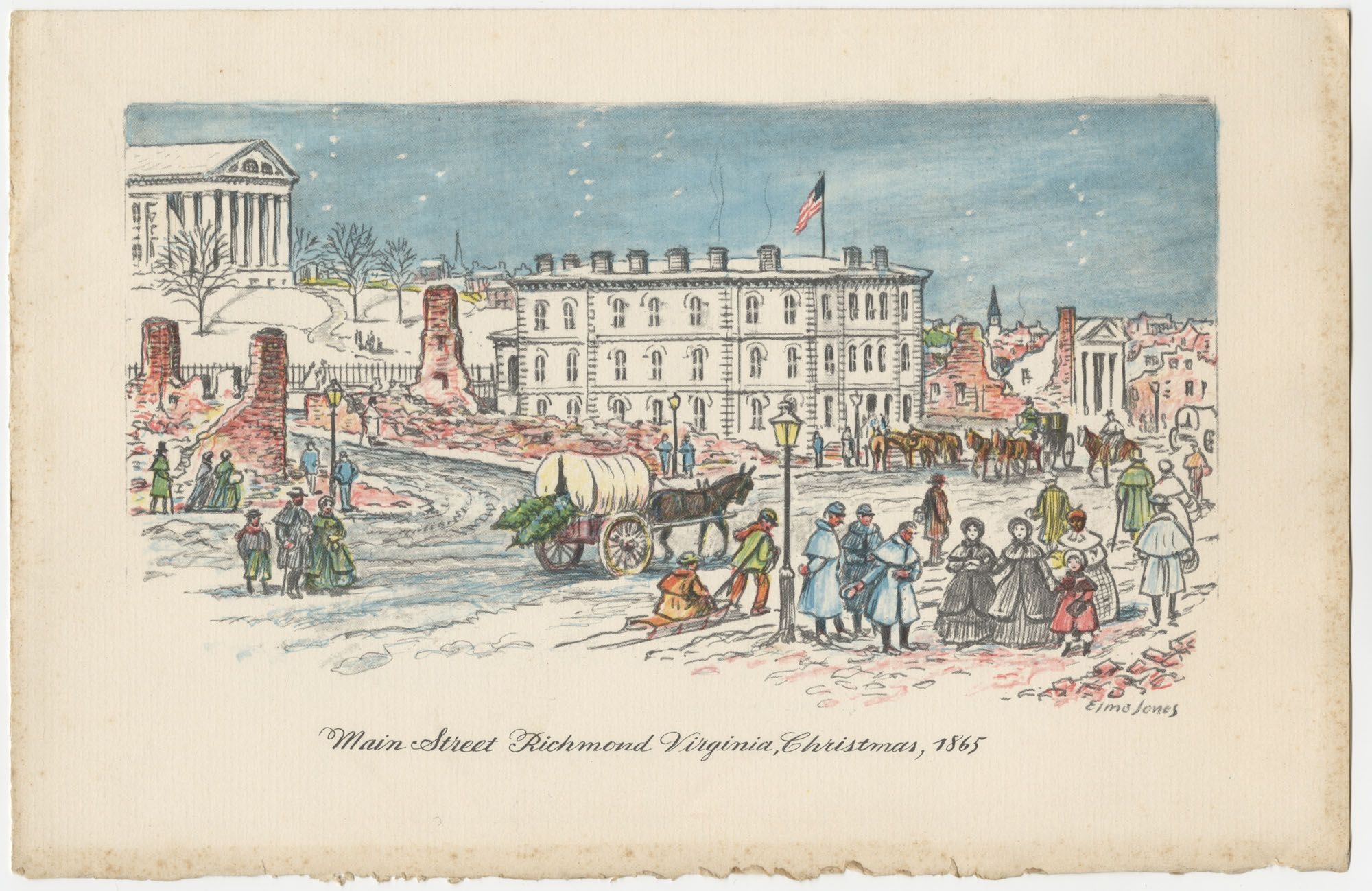 """""""Main Street, Richmond Virginia, Christmas 1865"""" by Elmo Jones. Visual Studies Collection, Manuscripts and Special Collections"""