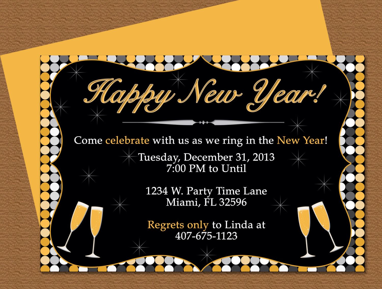 Diy Do It Yourself Happy New Year Invitation Editable Etsy Invitation Card Sample Invitation Template New Years Eve Invitations
