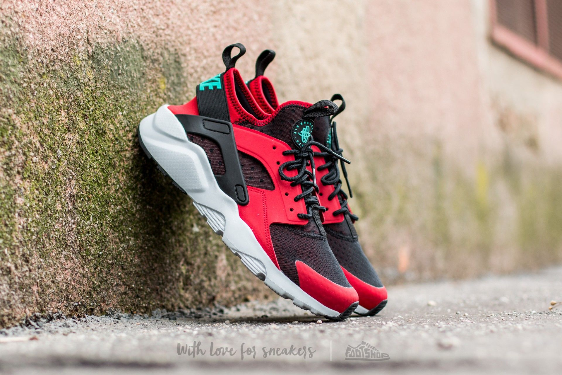 new product 7e982 76732 Nike Air Huarache Run Ultra Gym Red Clear Jade Black Pure Platinum Trainer
