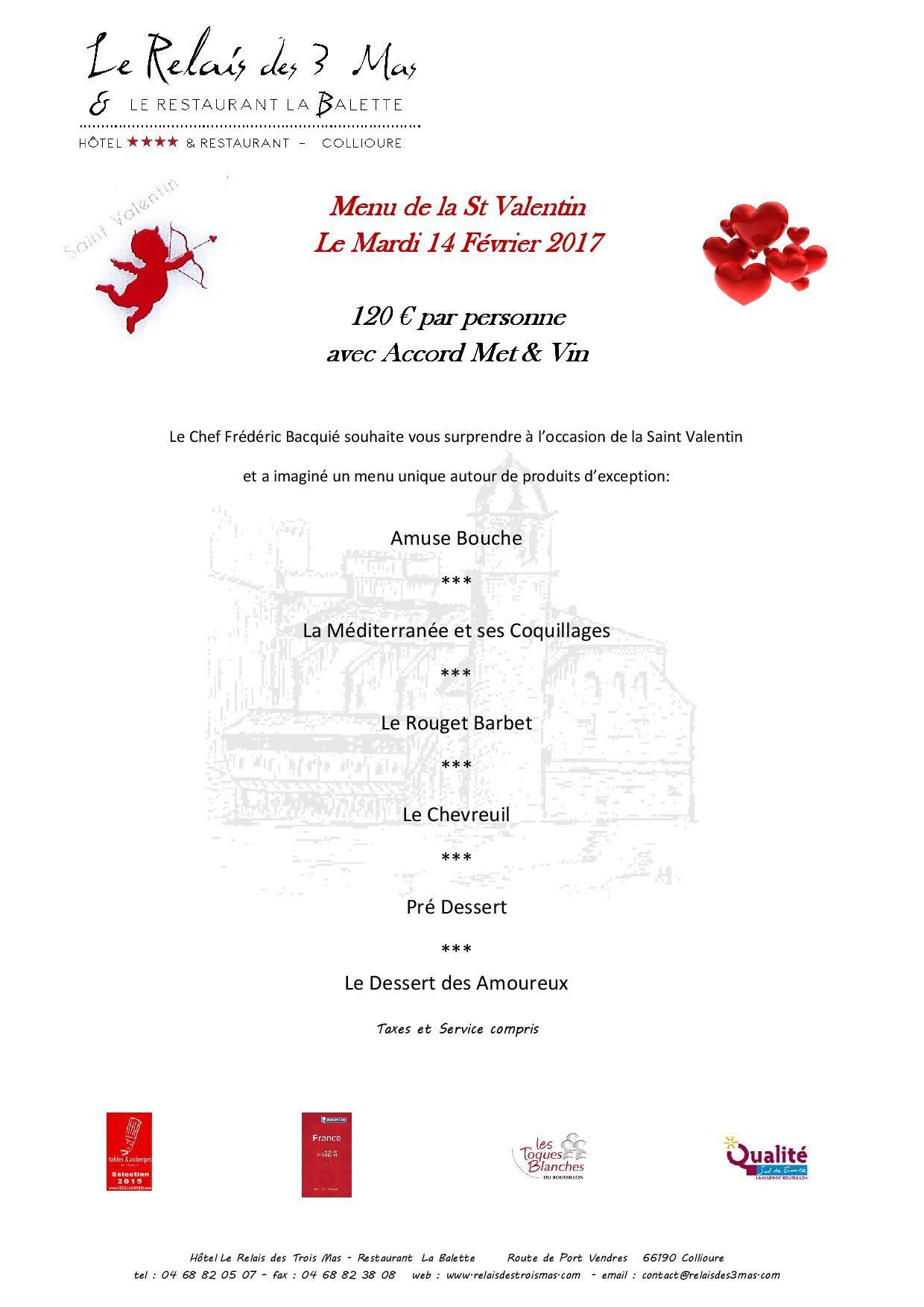 relais des trois mas restaurant la balette menu saint valentin occitania tourism pinterest. Black Bedroom Furniture Sets. Home Design Ideas