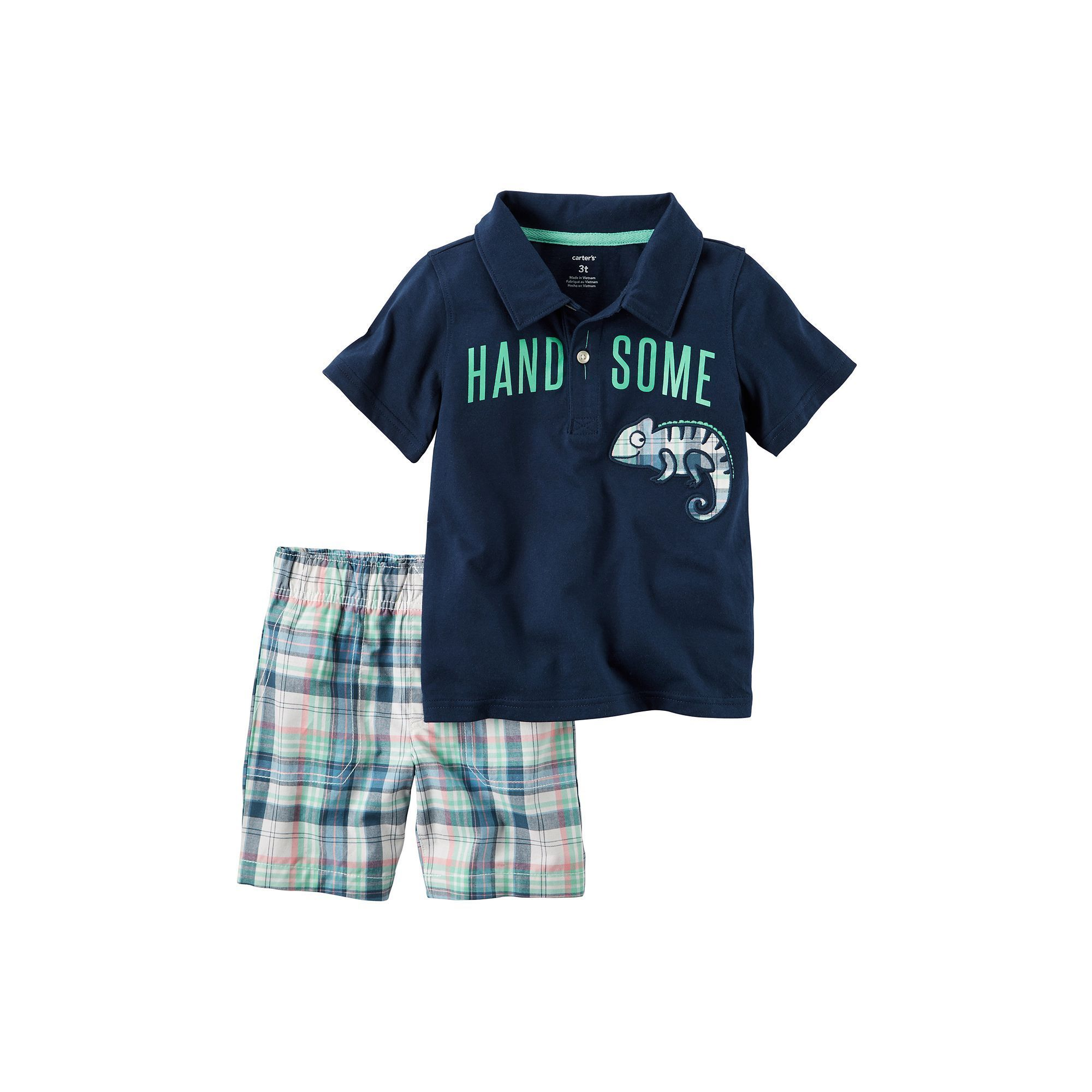 """Baby Boy Carter s """"Handsome"""" Graphic Polo & Plaid Shorts Set Size"""