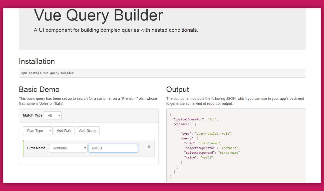 Vue Query Builder - Vue js Feed | programming | Programming