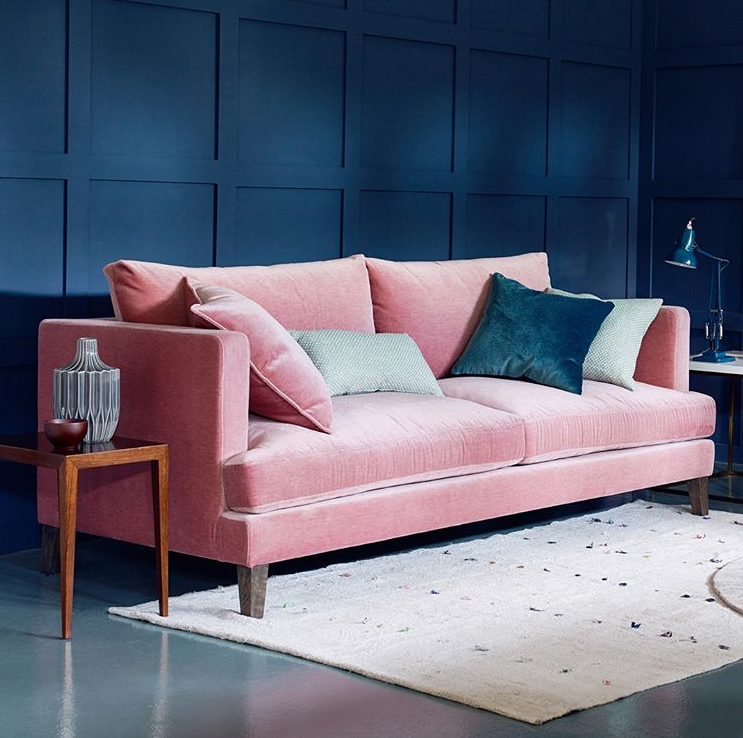 Blush Pink Sofa With Navy Blue Walls And Grey Cushions Pinkbedroomdreamroom Blue And Pink Bedroom Blue And Pink Living Room Pink Living Room