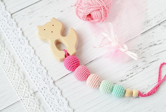 Baby Shower Gifts Under 15 ~ Organic wooden fox baby teether with crochet beads new born first