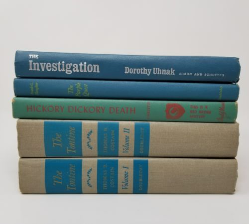 Lot 5 Vintage HB Books blue green gray farmhouse decor wedding prop stack rustic