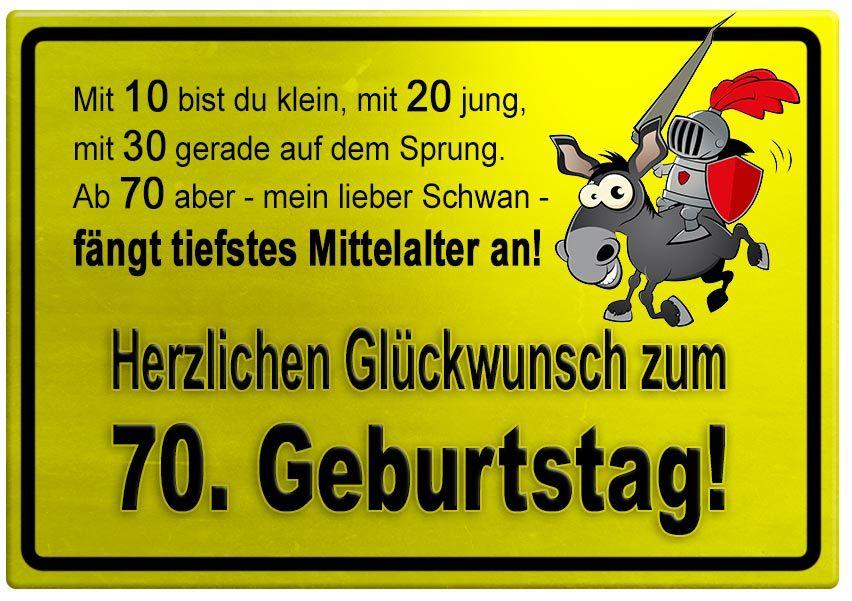 Gelbes Schild Mit Esel Und Ritter Zum 70 Geburtstag