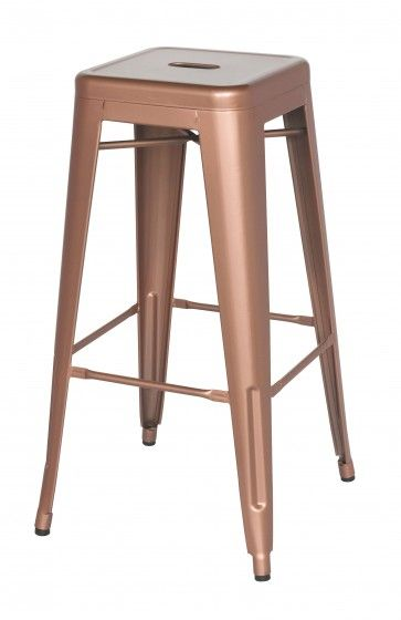 Chintaly Alfresco Bar Stool 8015 Rose Gold Steel Bar Stools