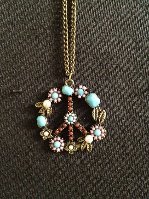 Stylish faux pearl and rhinestone decorated chiffon flower pattern hippie peace sign necklace by chooseyourpeace on etsy 1800 audiocablefo