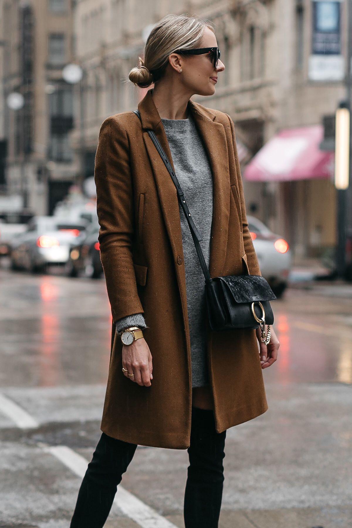 3bb54fef2b4e6 Blonde Woman Wearing Zara Camel Wool Coat Topshop Grey Sweater Dress Chloe  Faye Handbag Fashion Jackson Dallas Blogger Fashion Blogger Street Style