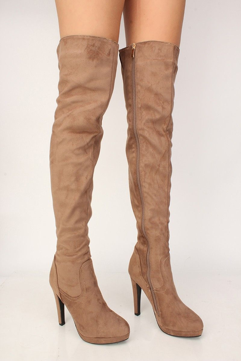 55e1f589c8b4 Sexy Taupe Platform Chunky High Heels Thigh High Boots Faux Suede in ...